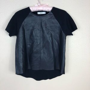 Zara Knit Faux Leather Top S